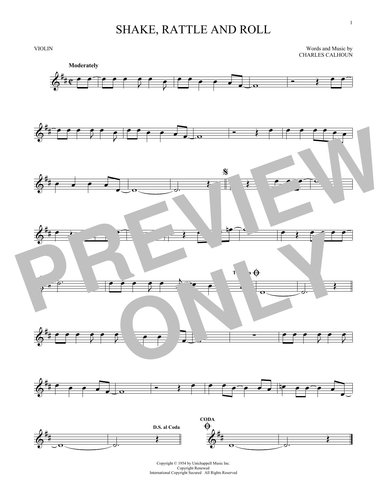 Partition autre Shake, Rattle And Roll de Bill Haley & His Comets - Violon