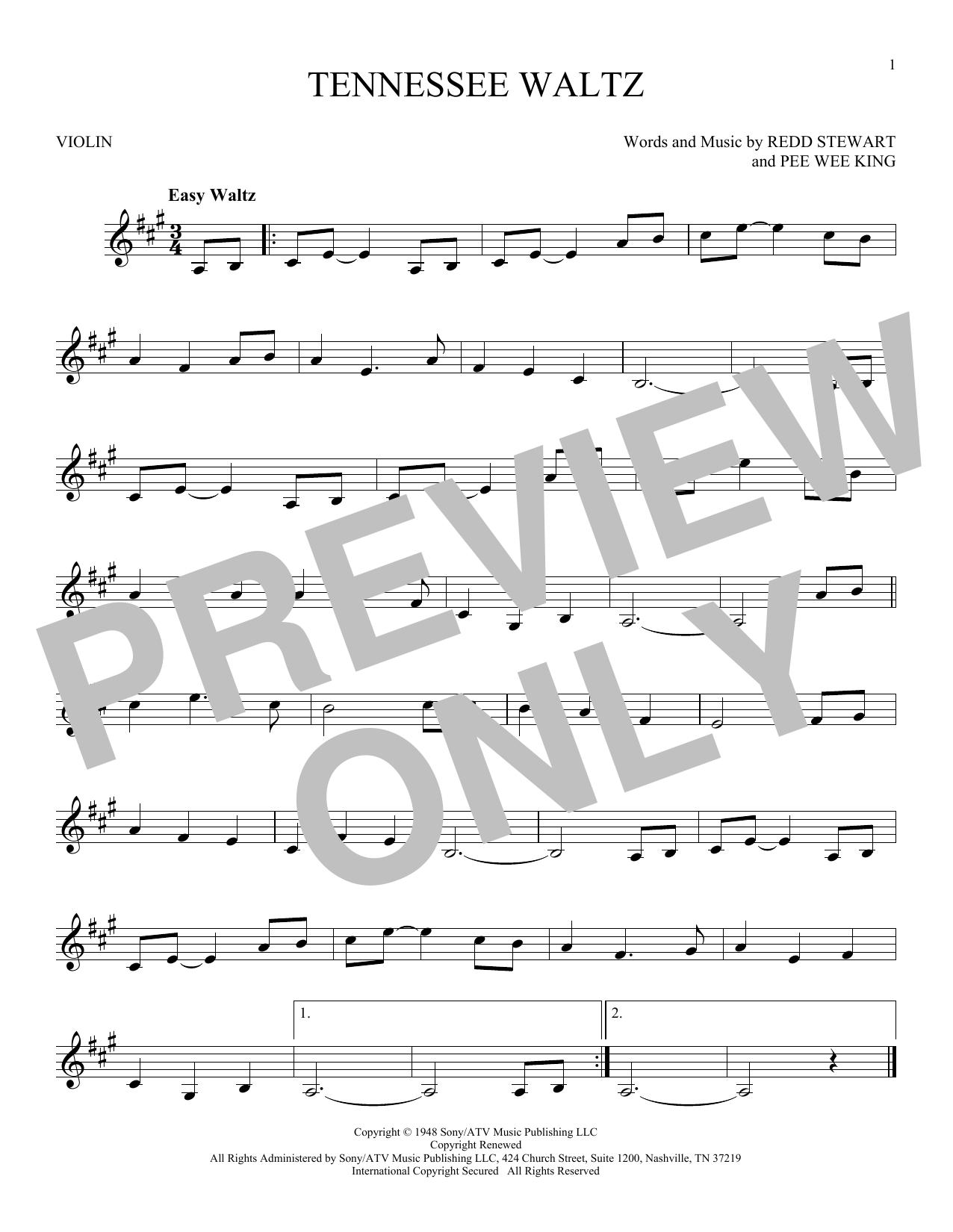 Partition autre Tennessee Waltz de Pee Wee King - Violon