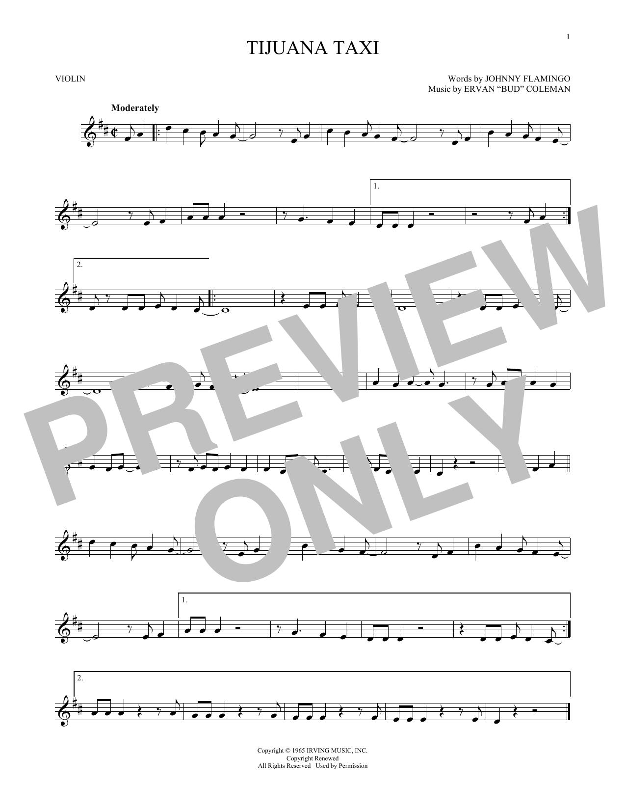 Partition autre Tijuana Taxi de Herb Alpert & The Tijuana Brass Band - Violon