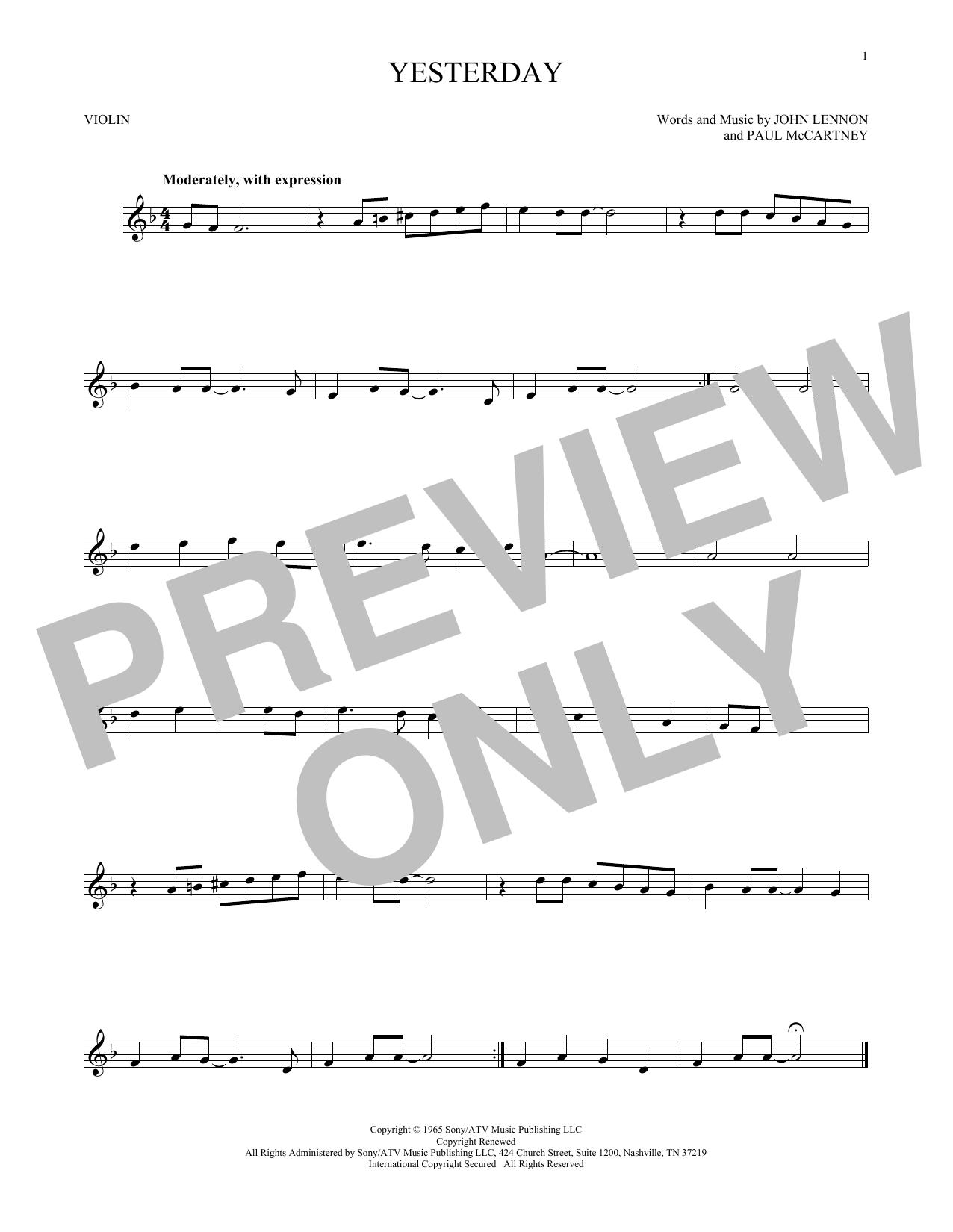 Partition autre Yesterday de The Beatles - Violon