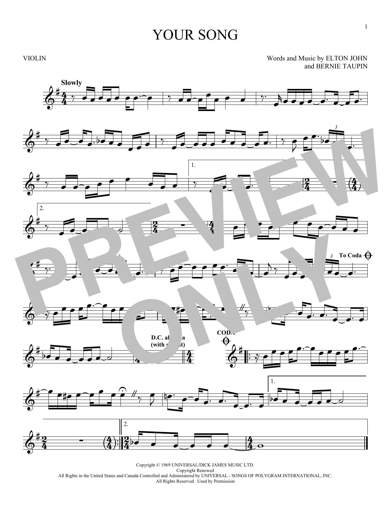 Partition autre Your Song de Elton John - Violon