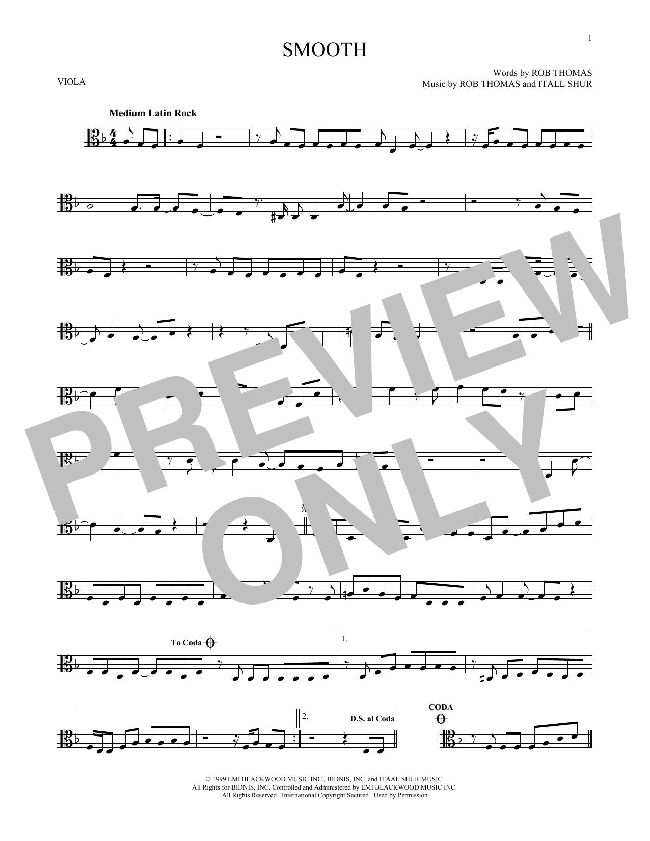 Partition autre Smooth de Santana featuring Rob Thomas - Alto