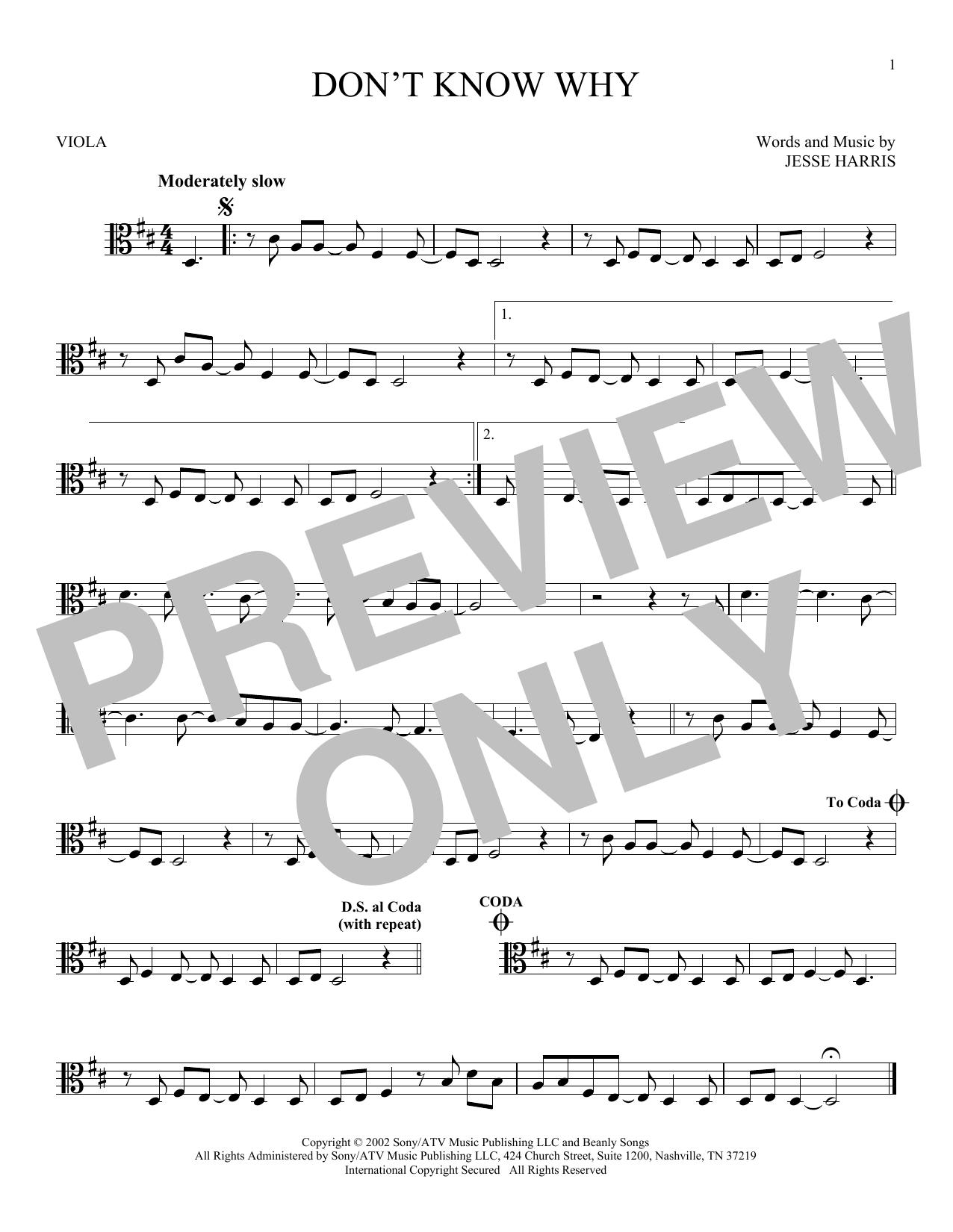 Partition autre Don't Know Why de Norah Jones - Alto