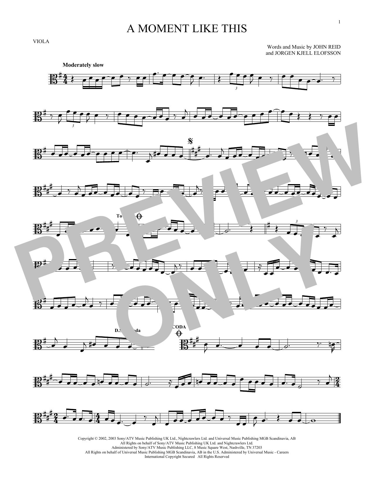 Partition autre A Moment Like This de Kelly Clarkson - Alto