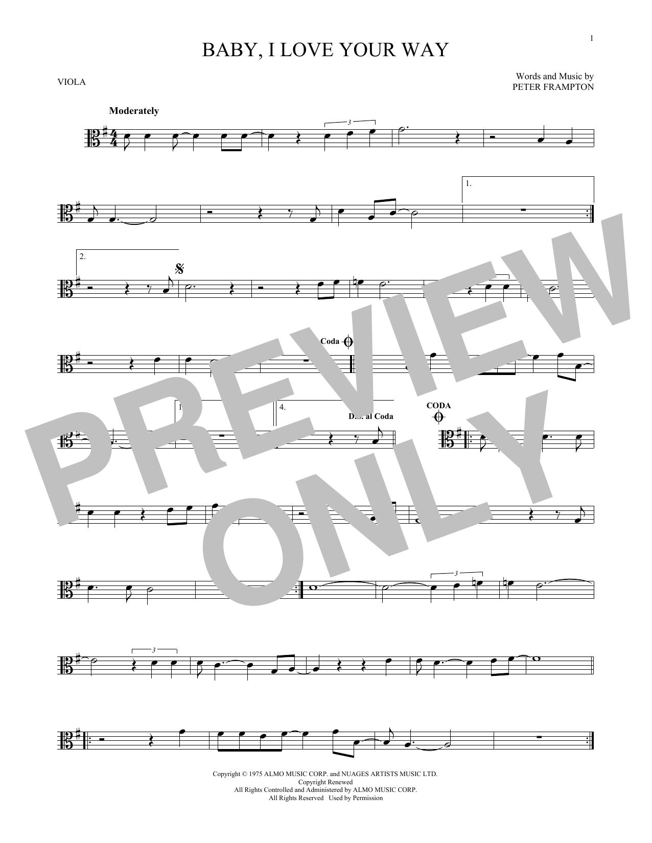 Partition autre Baby, I Love Your Way de Peter Frampton - Alto