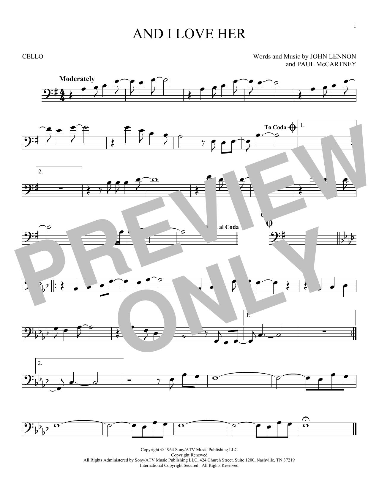 Partition autre And I Love Her de The Beatles - Violoncelle