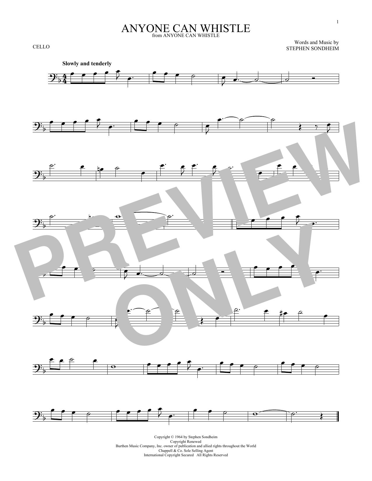 Partition autre Anyone Can Whistle de Stephen Sondheim - Violoncelle