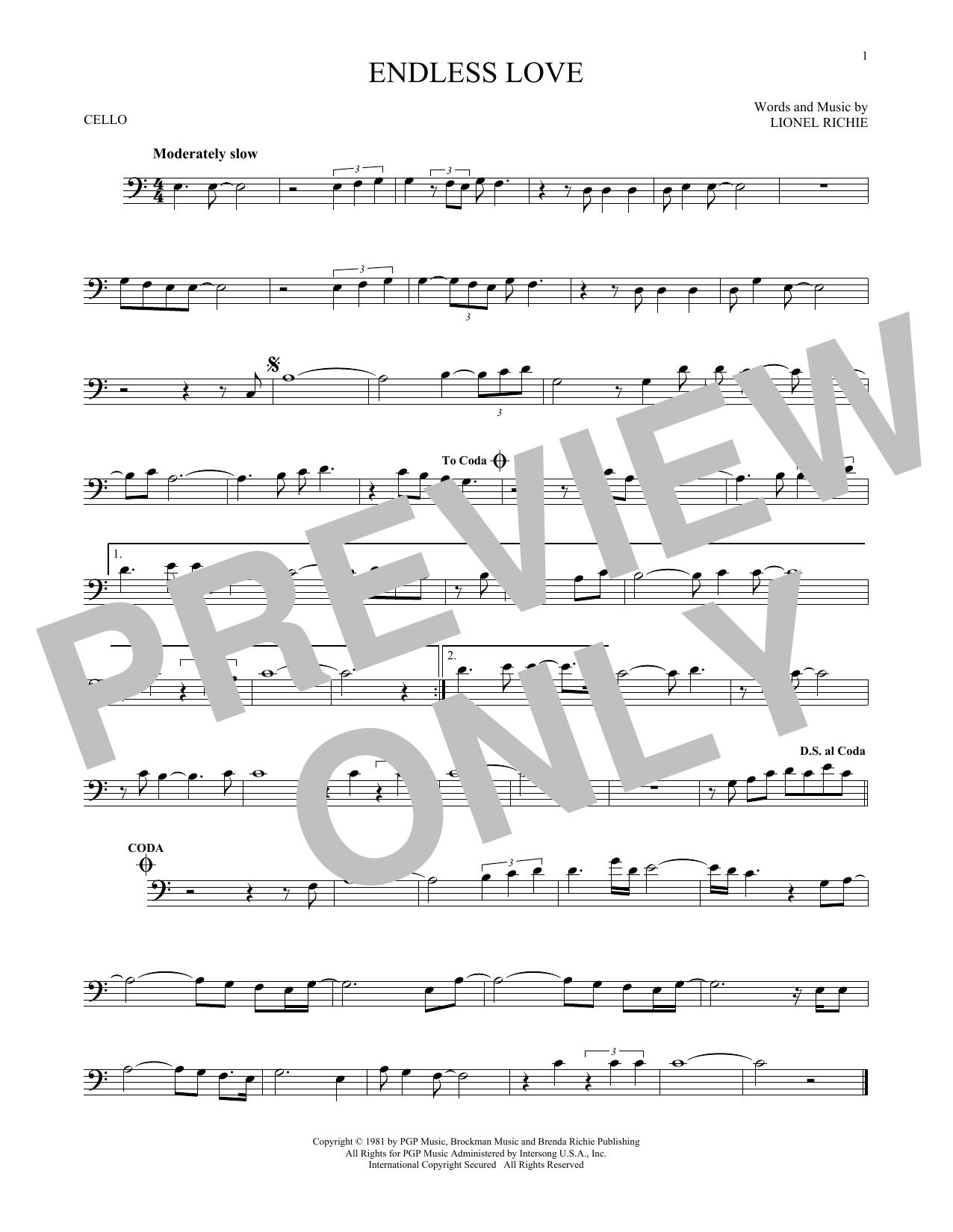 Partition autre Endless Love de Lionel Richie & Diana Ross - Violoncelle