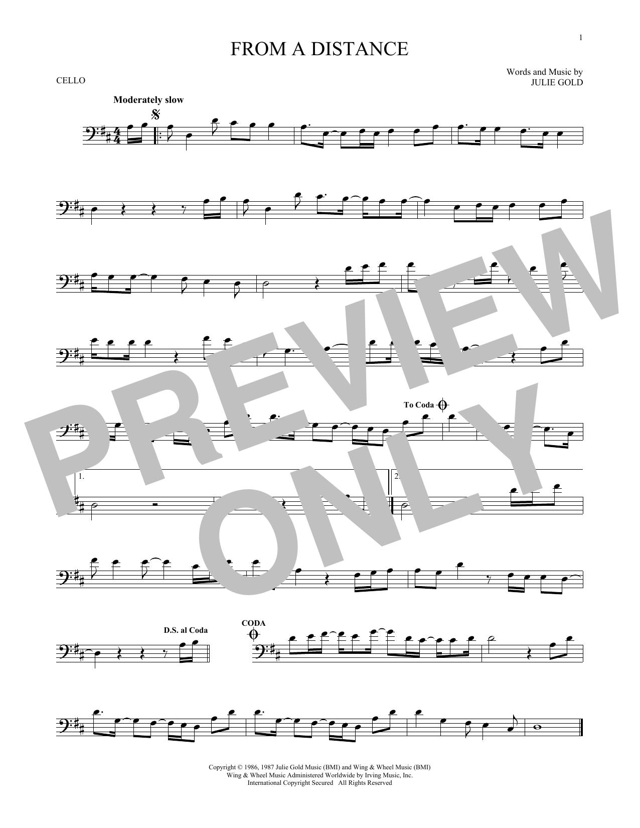 Partition autre From A Distance de Bette Midler - Violoncelle