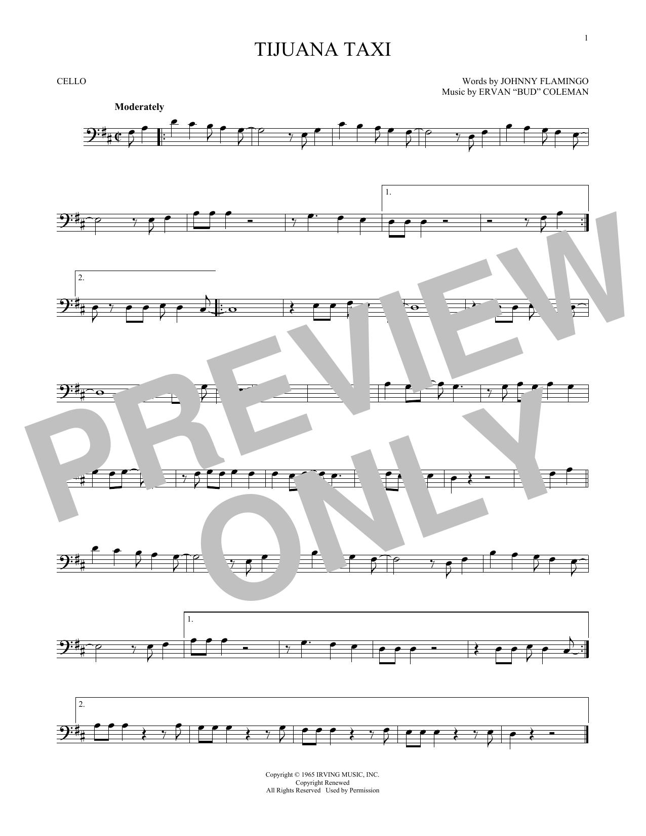 Partition autre Tijuana Taxi de Herb Alpert & The Tijuana Brass Band - Violoncelle