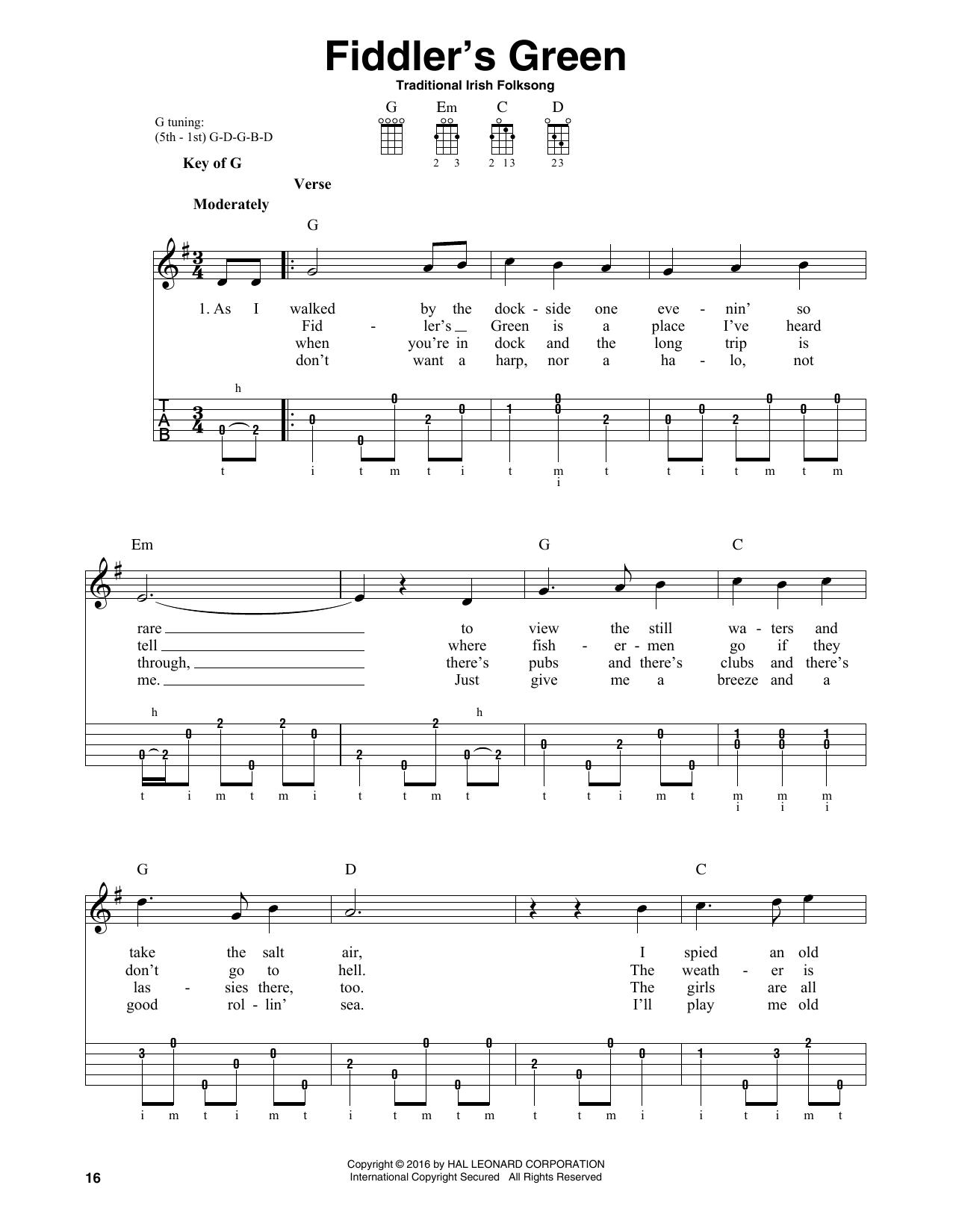 Partition autre Fiddler's Green de Traditional Irish Folk Song - Autre