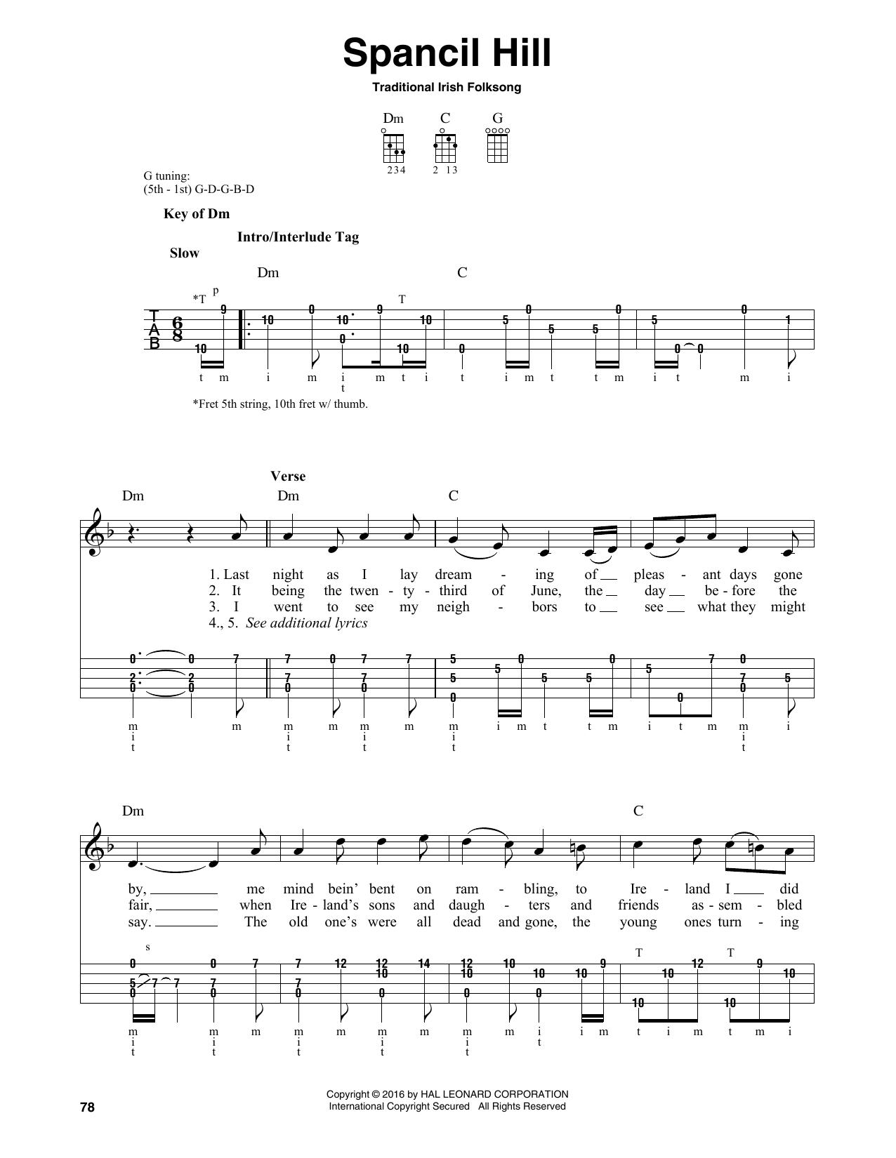 Partition autre Spancil Hill de Traditional Irish Folk Song - Autre