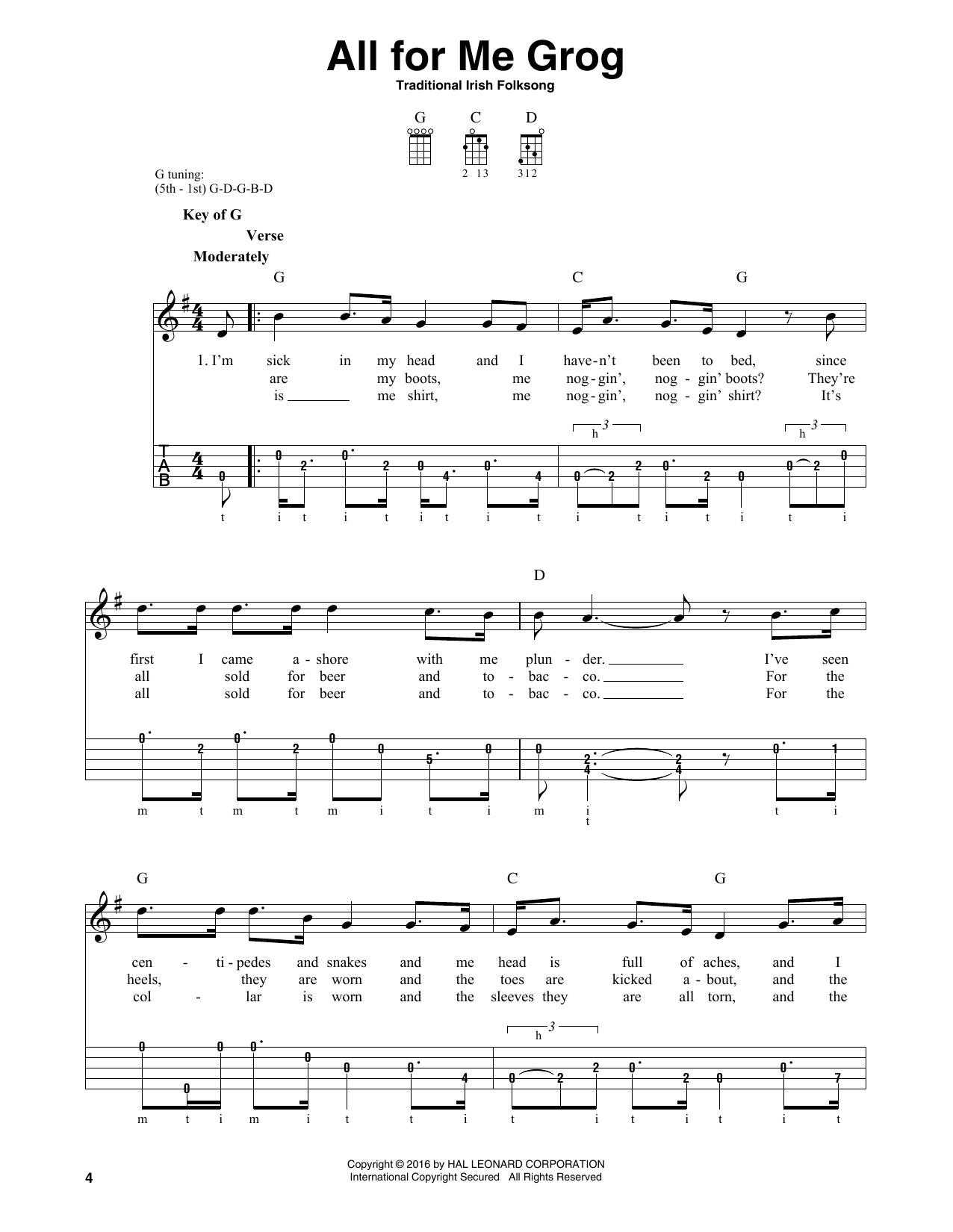 Partition autre All For Me Grog de Traditional Irish Folksong - Autre