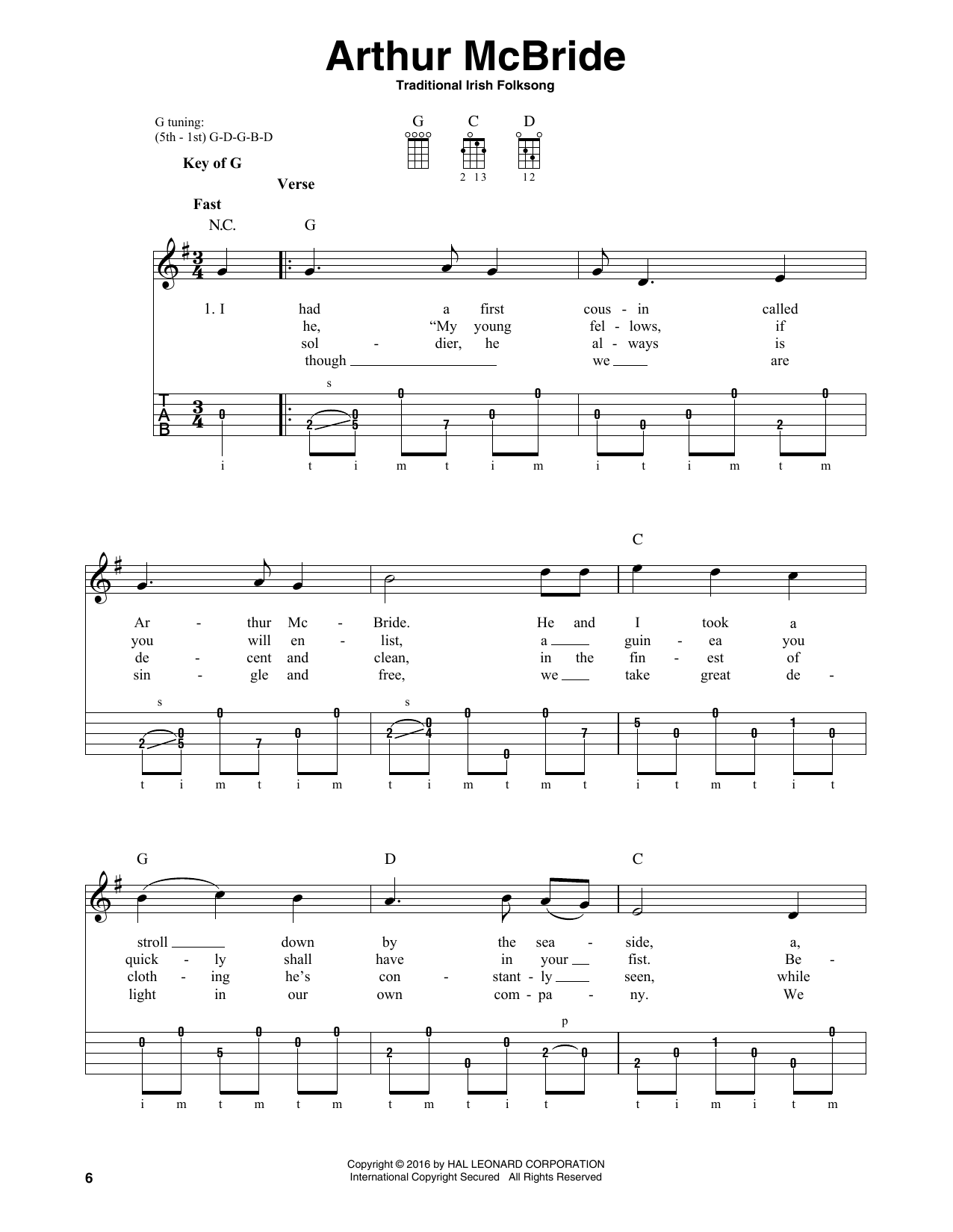 Partition autre Arthur McBride de Traditional Irish Folk Song - Autre