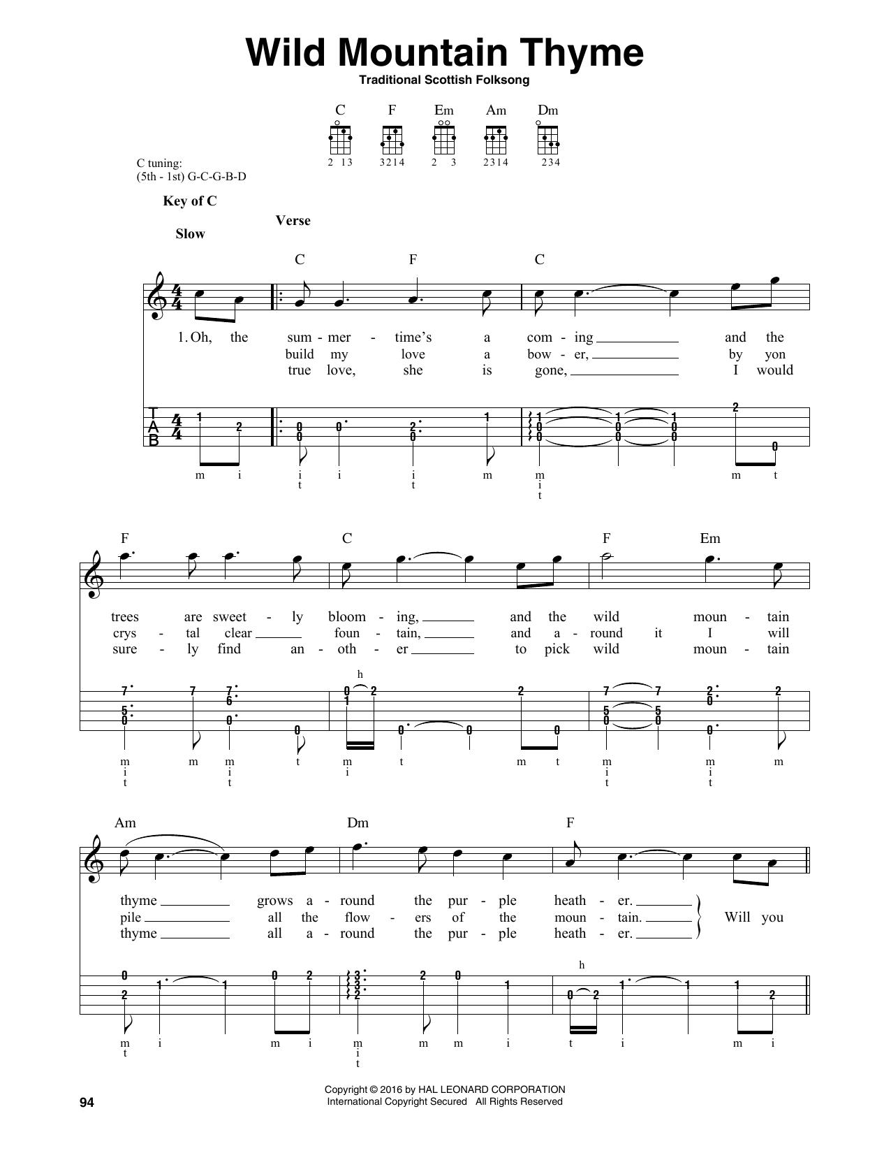 Partition autre Wild Mountain Thyme de Traditional Scottish Folksong - Autre