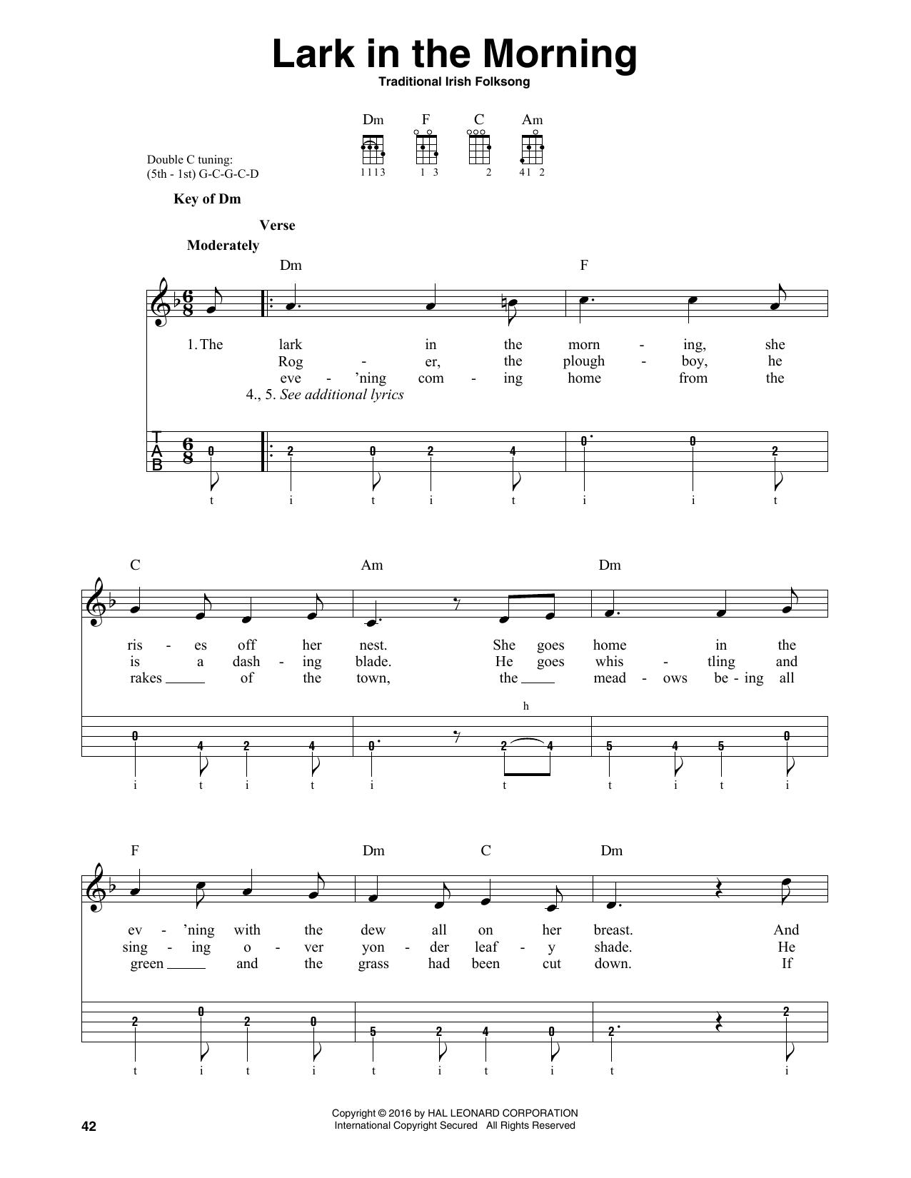 Partition autre Lark In The Morning de Traditional Irish Folk Song - Autre