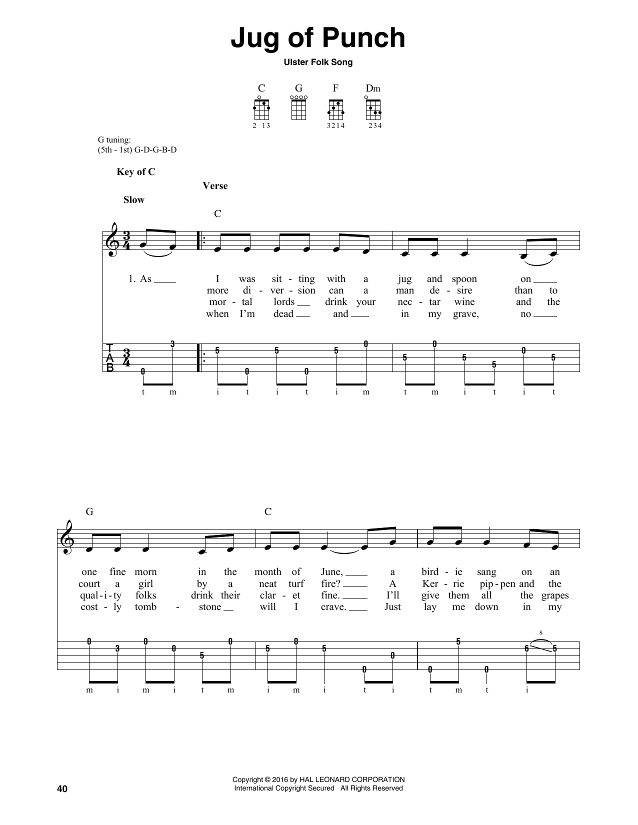 Partition autre Jug Of Punch de Ulster Folk Song - Autre