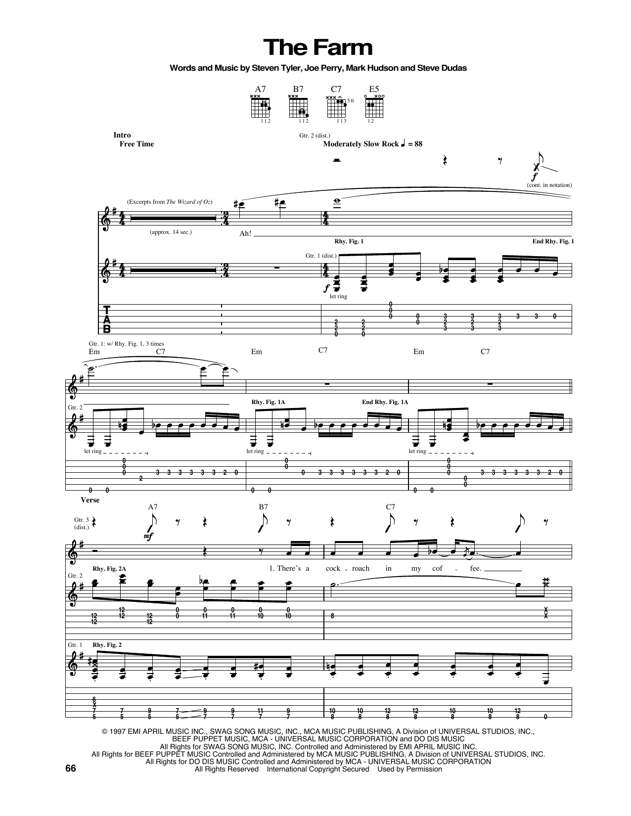 Tablature guitare The Farm de Aerosmith - Tablature Guitare