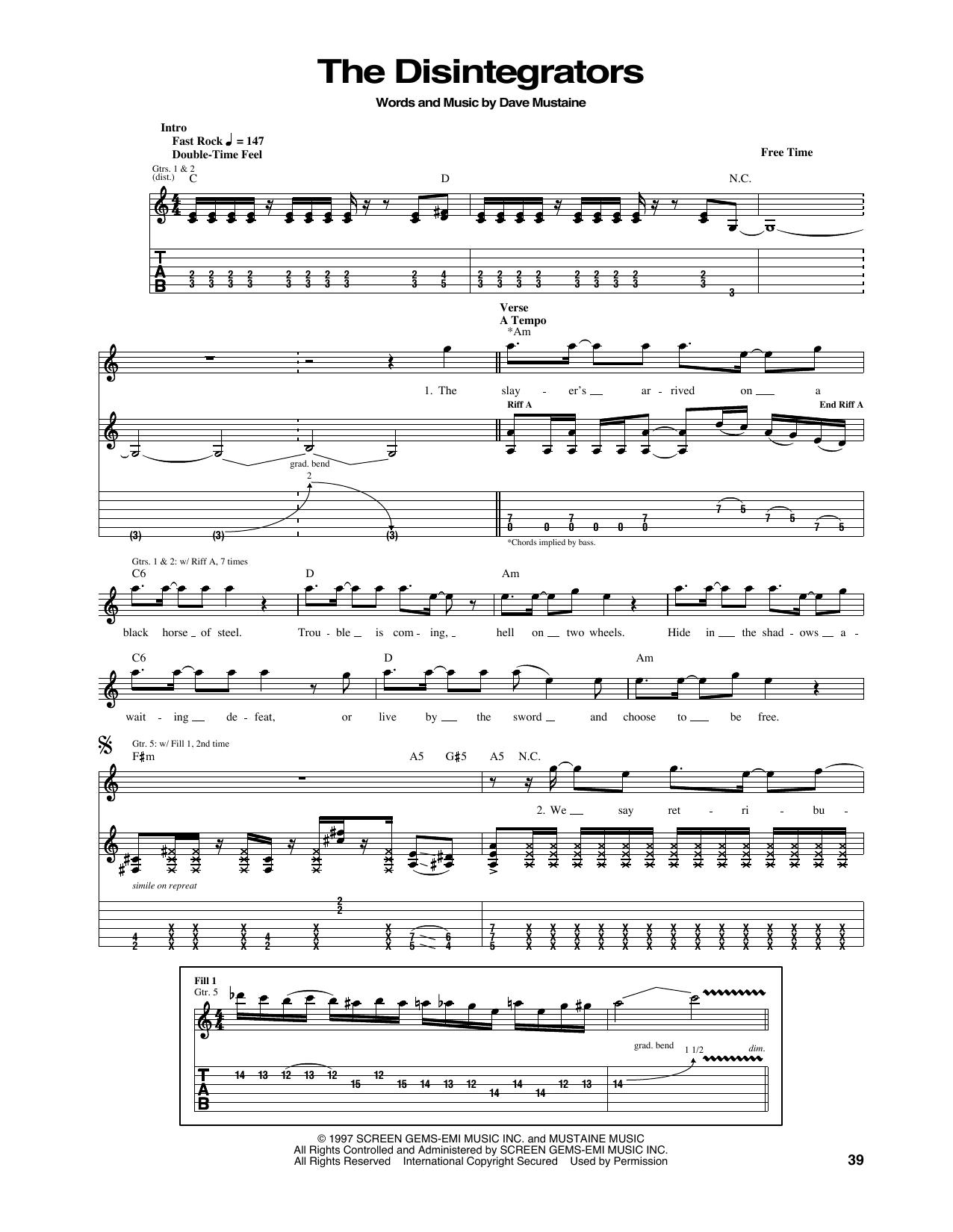 Tablature guitare The Disintegrators de Megadeth - Tablature Guitare