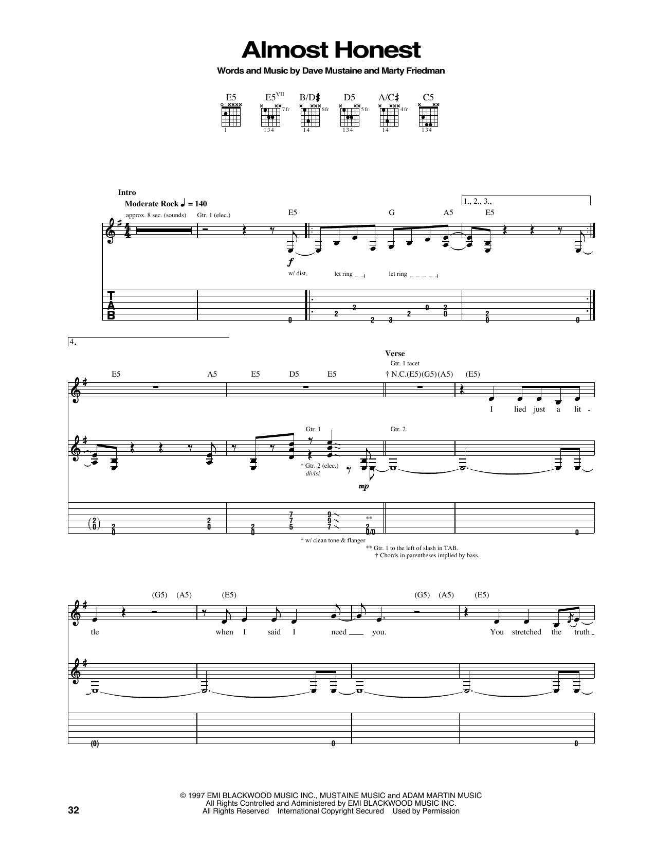 Tablature guitare Almost Honest de Megadeth - Tablature Guitare