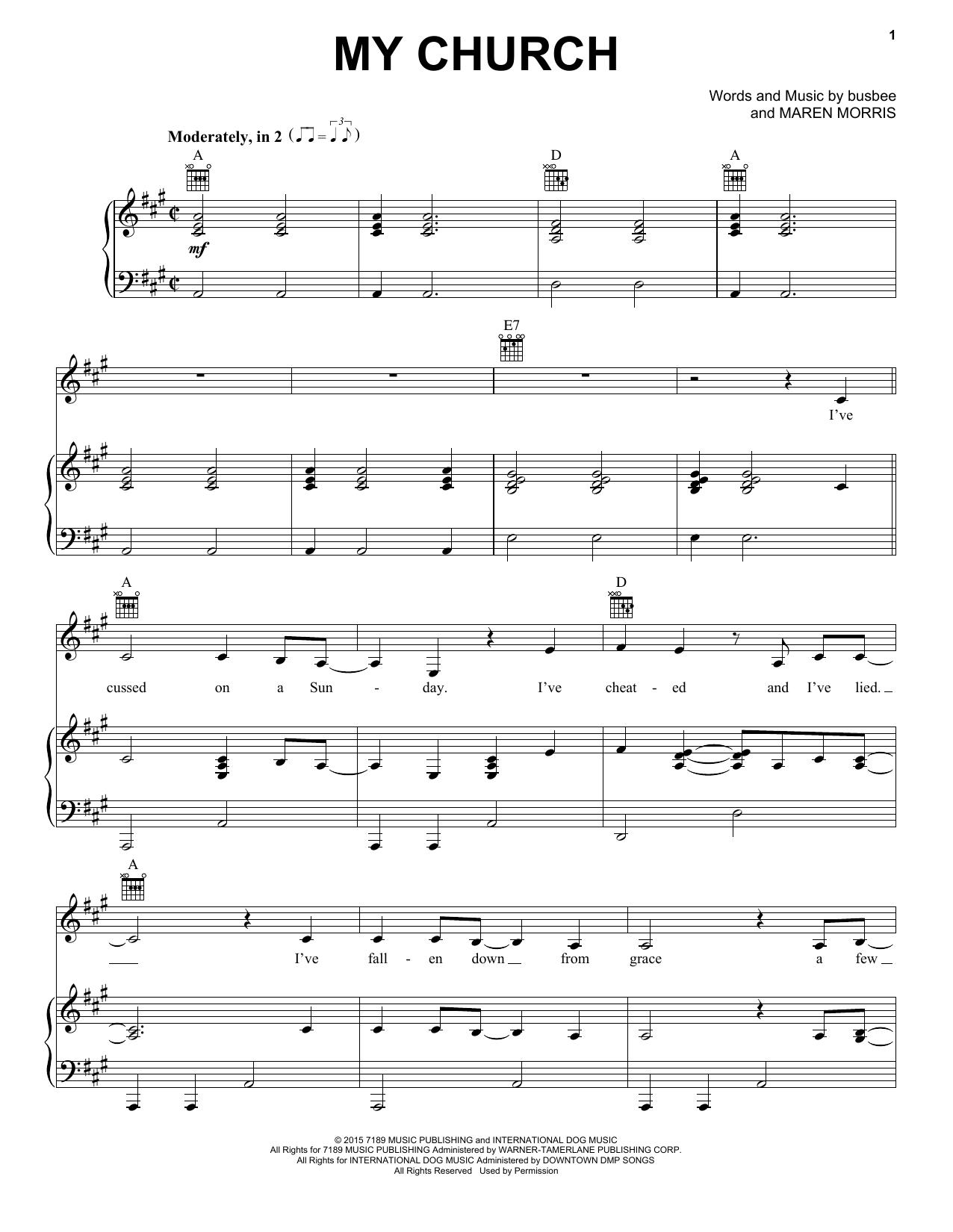 Partition piano My Church de Maren Morris - Piano Voix Guitare (Mélodie Main Droite)