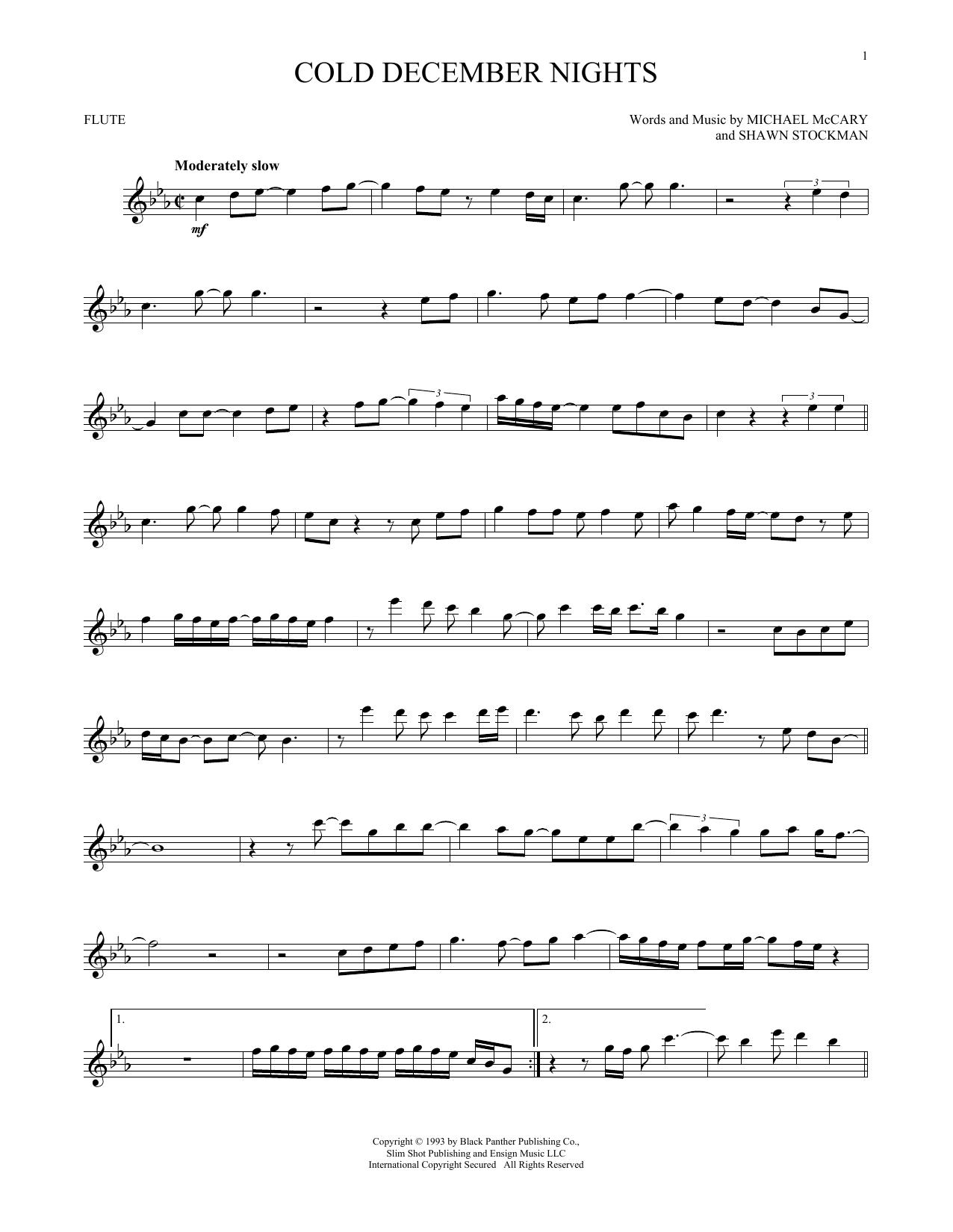 Partition flûte Cold December Nights de Boyz II Men - Flute traversiere