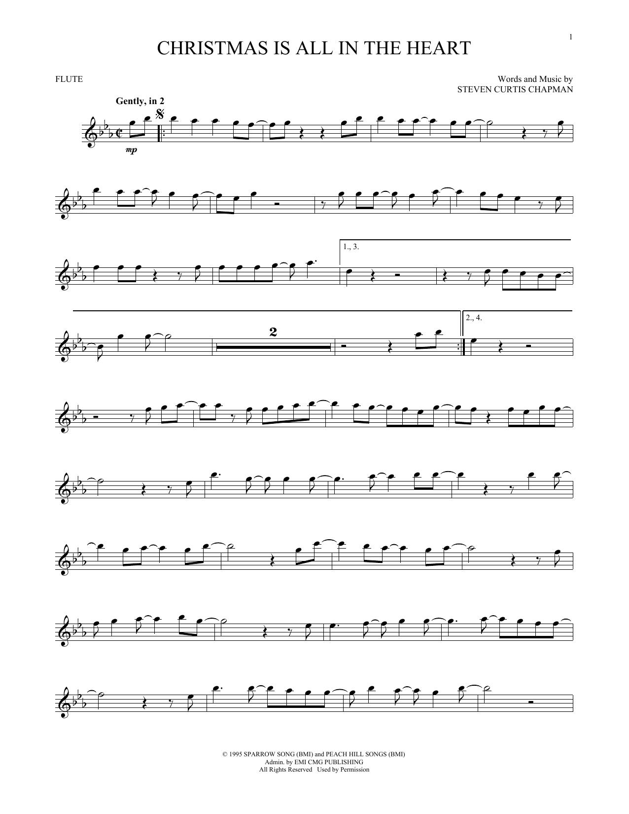 Partition flûte Christmas Is All In The Heart de Steven Curtis Chapman - Flute traversiere