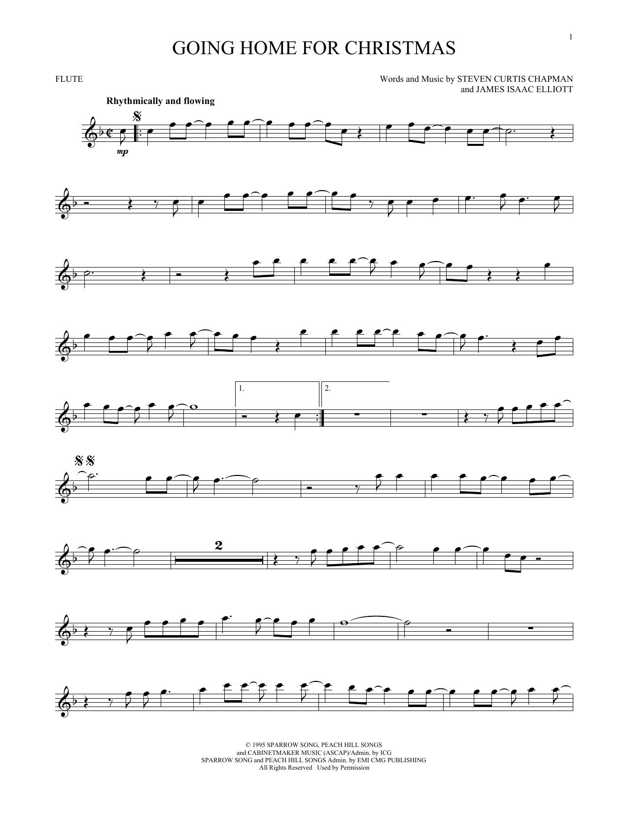 Partition flûte Going Home For Christmas de Steven Curtis Chapman - Flute traversiere