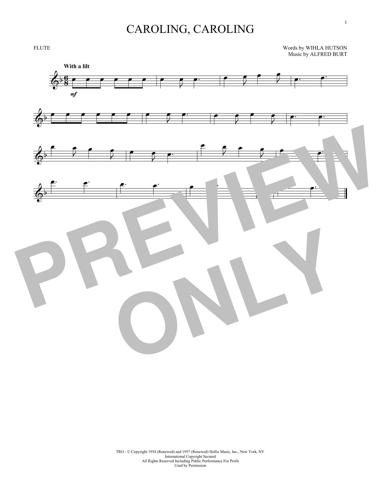 Partition flûte Caroling, Caroling de Alfred Burt - Flute traversiere