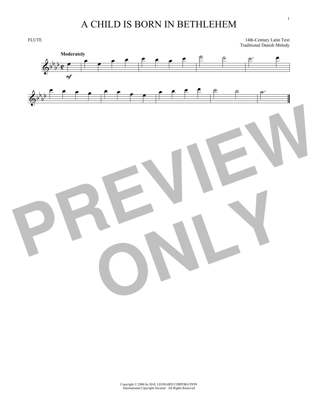 Partition flûte A Child Is Born In Bethlehem de Traditional Danish Melody - Flute traversiere