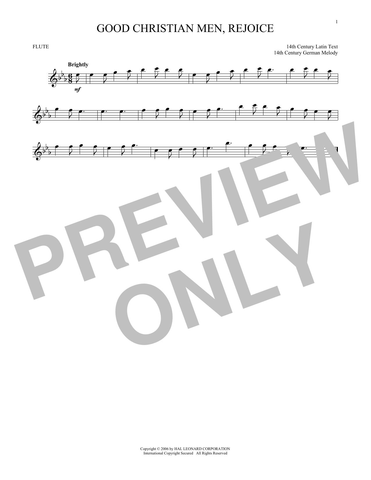 Partition flûte Good Christian Men, Rejoice de Christmas Carol - Flute traversiere
