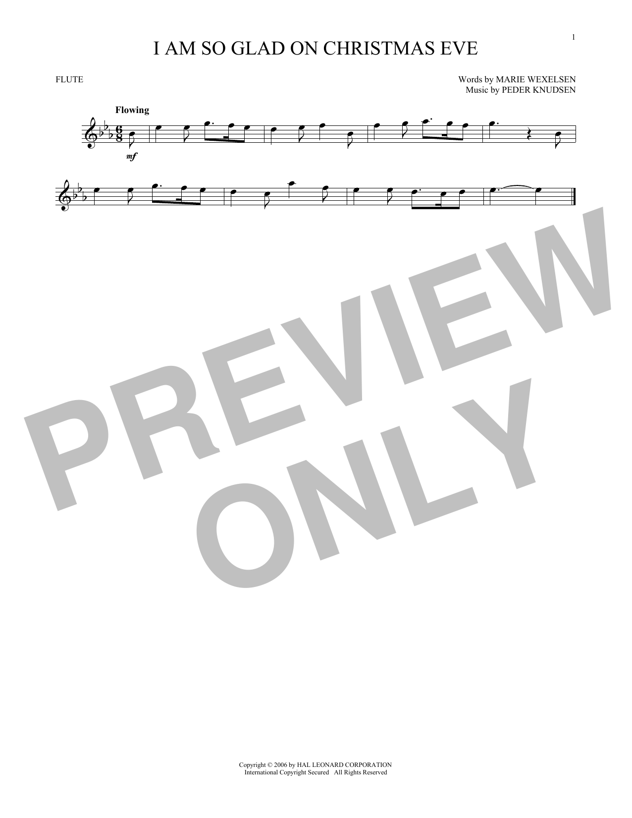 Partition flûte I Am So Glad On Christmas Eve de Peder Knudsen - Flute traversiere