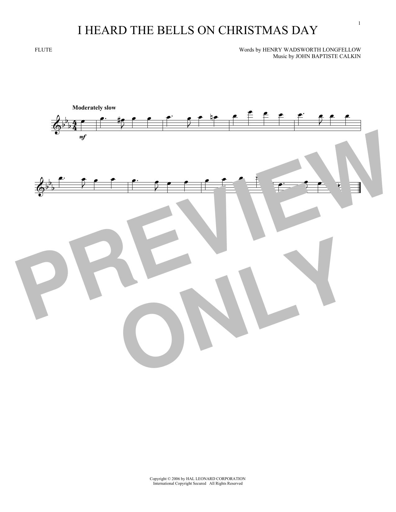 Partition flûte I Heard The Bells On Christmas Day de Johnny Marks - Flute traversiere