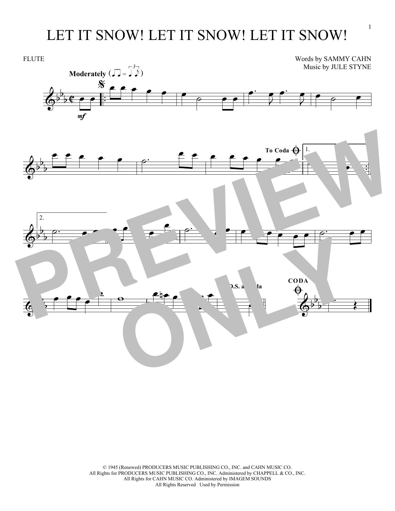 Partition flûte Let It Snow! Let It Snow! Let It Snow! de Sammy Cahn - Flute traversiere