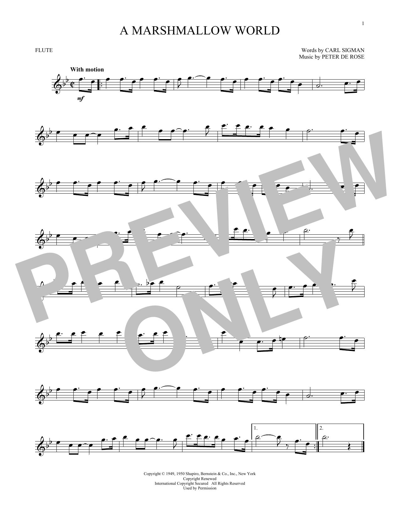 Partition flûte A Marshmallow World de Carl Sigman - Flute traversiere