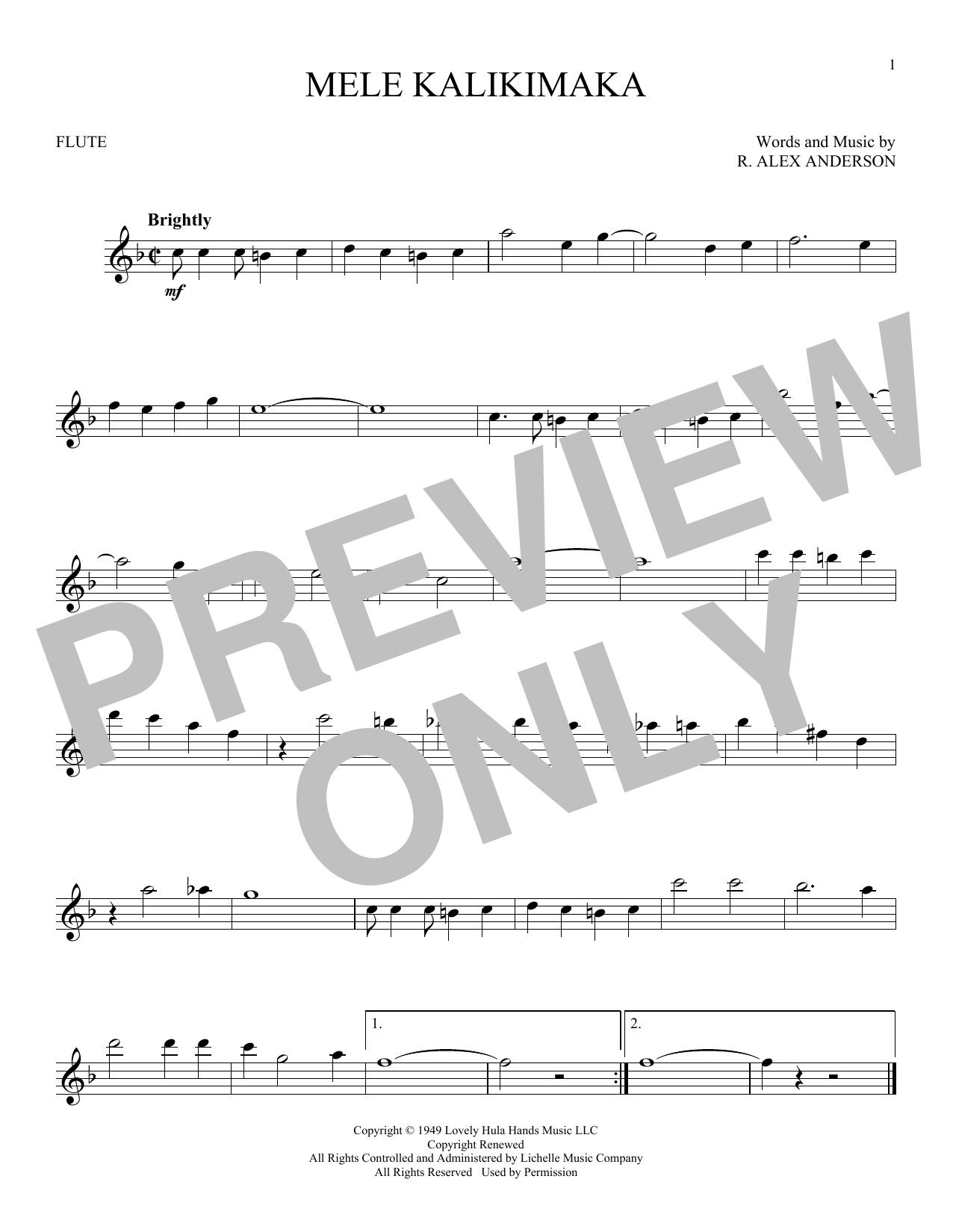 Partition flûte Mele Kalikimaka de Bing Crosby - Flute traversiere