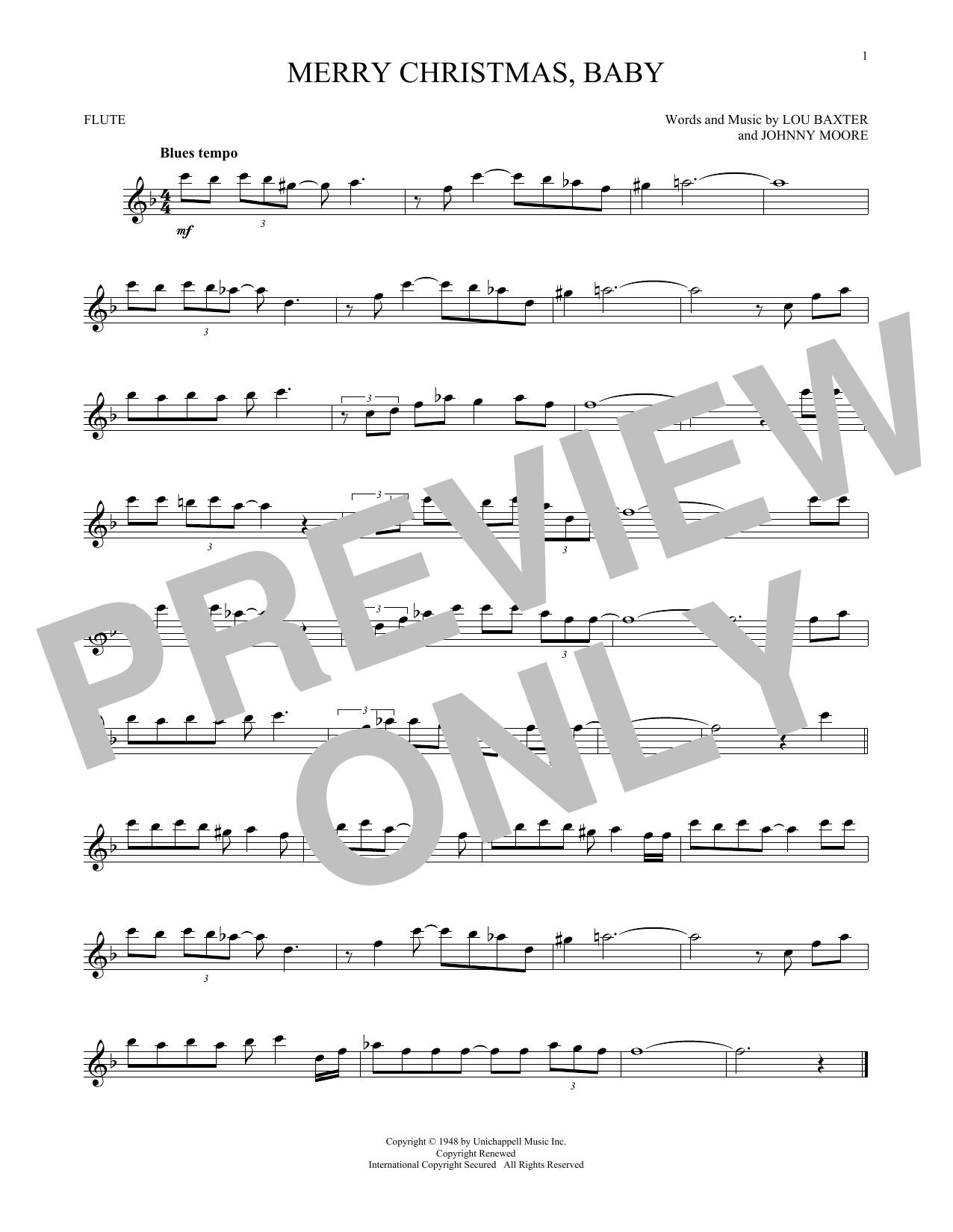 Partition flûte Merry Christmas, Baby de Elvis Presley - Flute traversiere