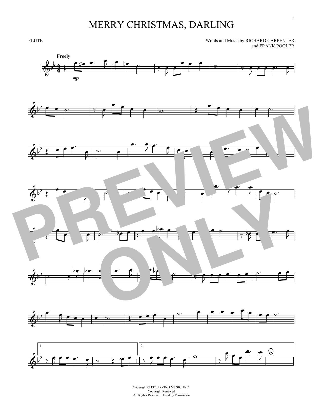 Partition flûte Merry Christmas, Darling de The Carpenters - Flute traversiere