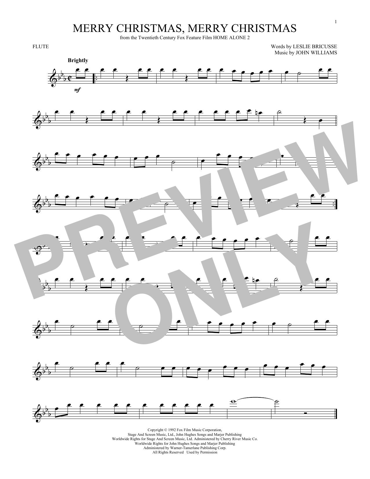Partition flûte Merry Christmas, Merry Christmas de John Williams - Flute traversiere
