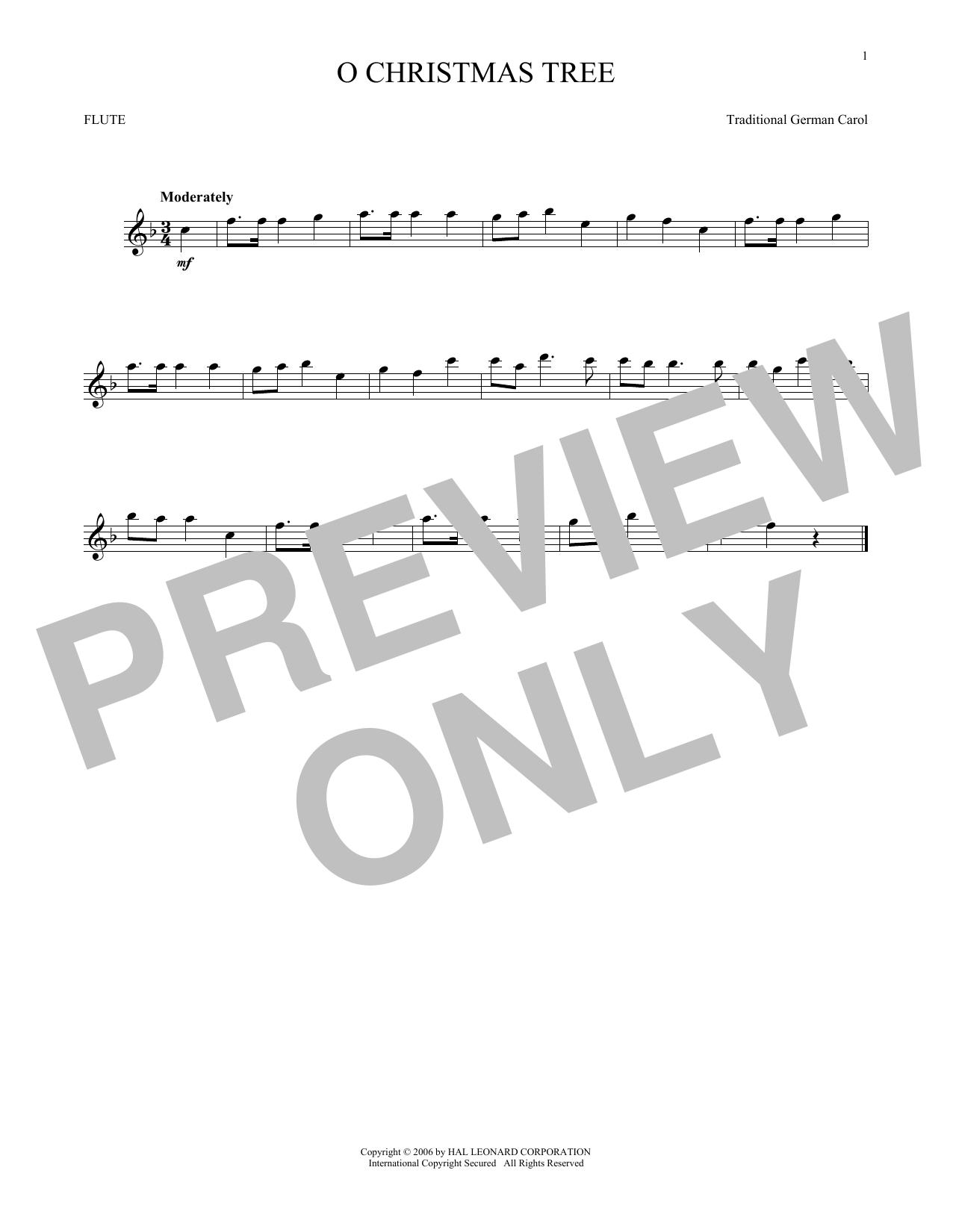 Partition flûte O Christmas Tree de Traditional German Carol - Flute traversiere