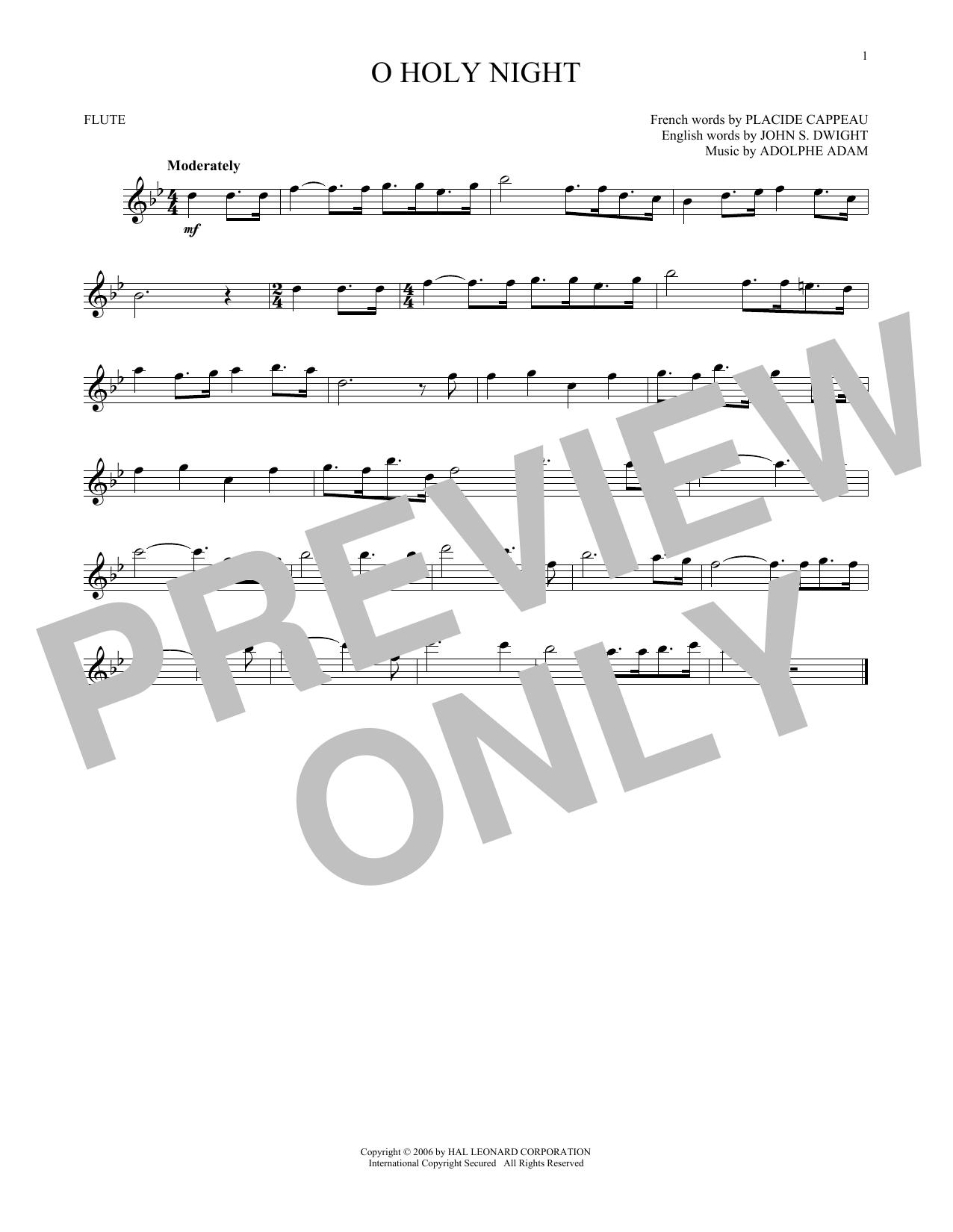 Partition flûte O Holy Night de Adolphe Adam - Flute traversiere