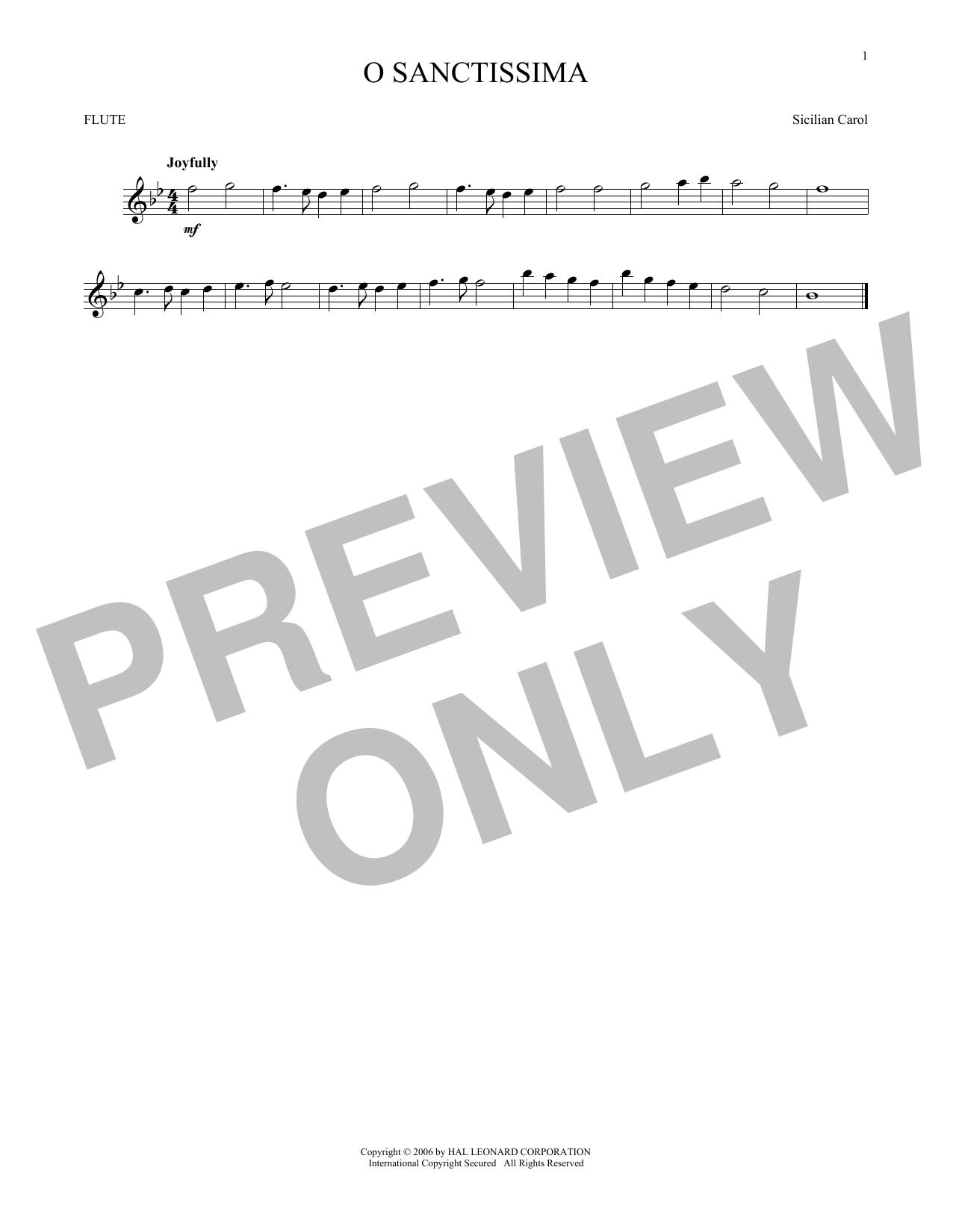 Partition flûte O Sanctissima de Traditional Carol - Flute traversiere