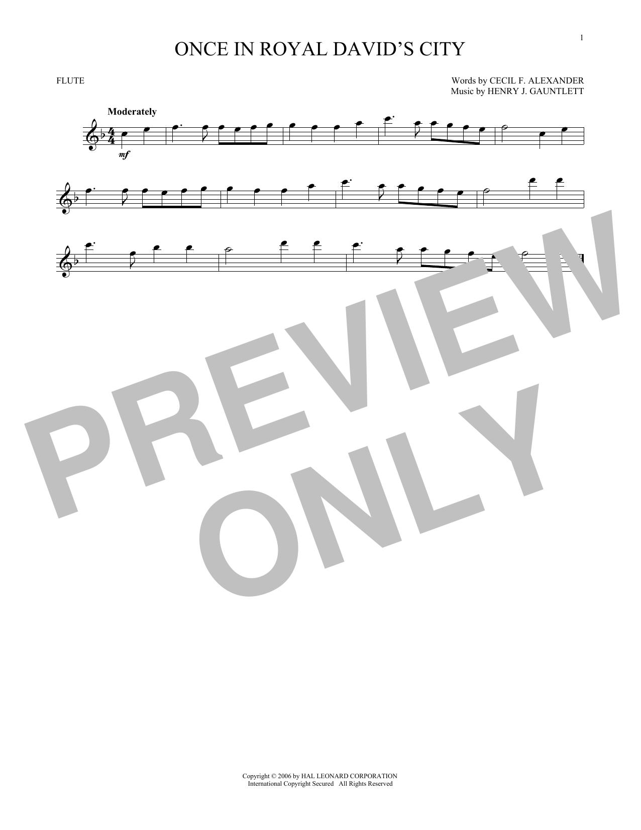 Partition flûte Once In Royal David's City de Christmas Carol - Flute traversiere