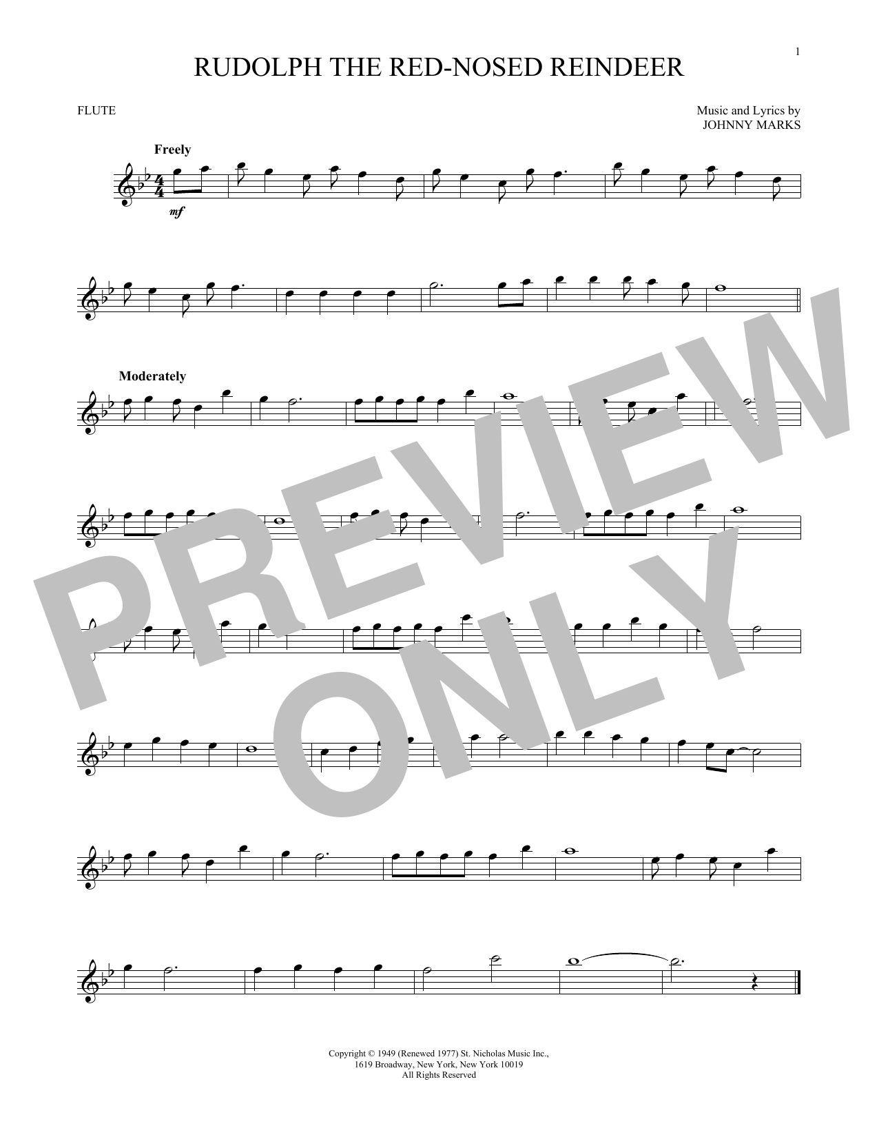 Partition flûte Rudolph The Red-Nosed Reindeer de Johnny Marks - Flute traversiere
