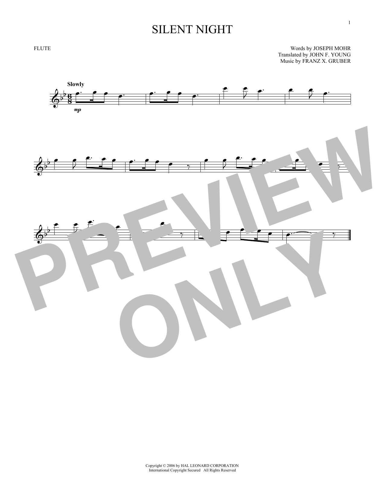 Partition flûte Silent Night de Franz X. Gruber - Flute traversiere