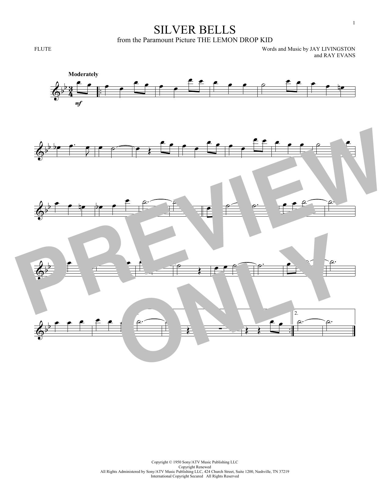 Partition flûte Silver Bells de Jay Livingston - Flute traversiere