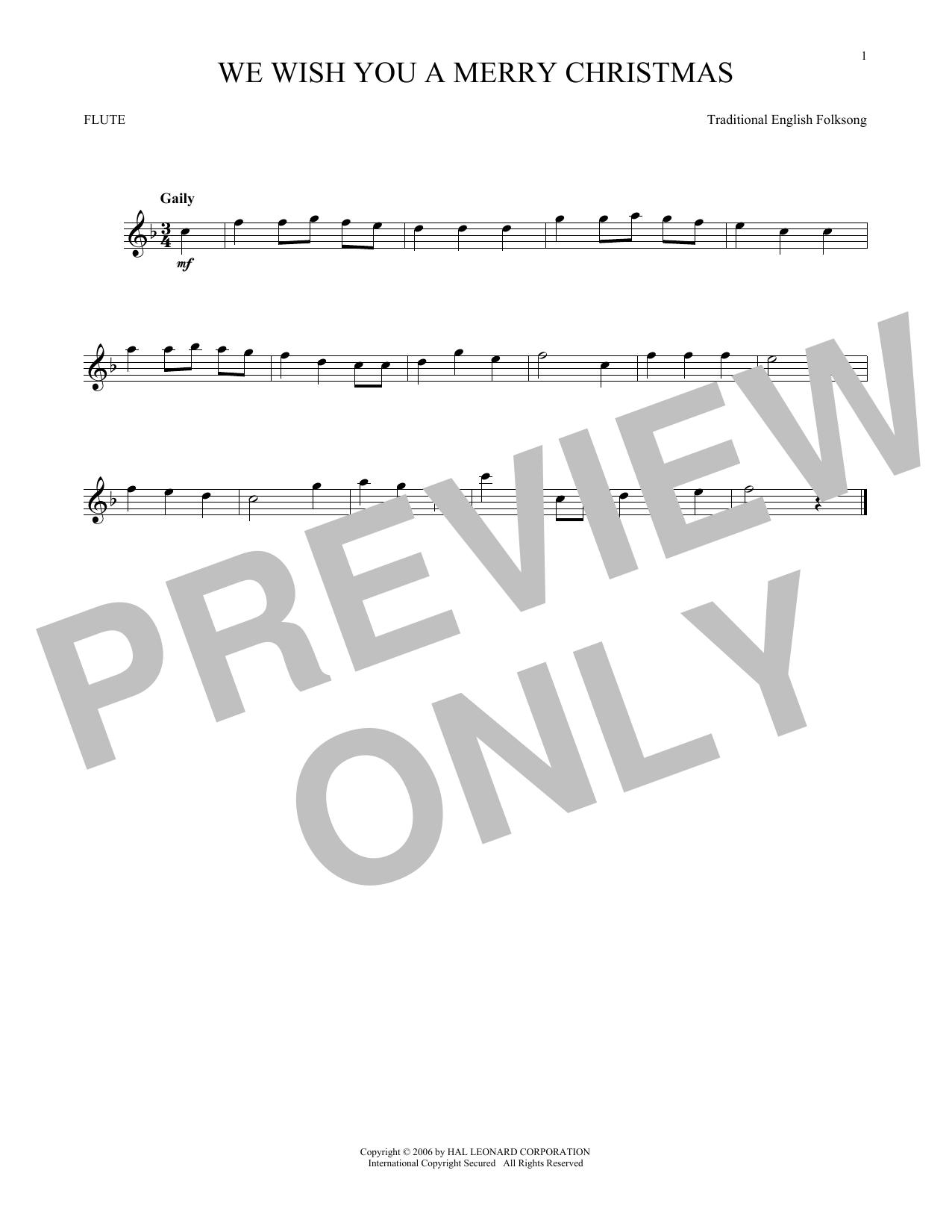 Partition flûte We Wish You A Merry Christmas de Christmas Carol - Flute traversiere