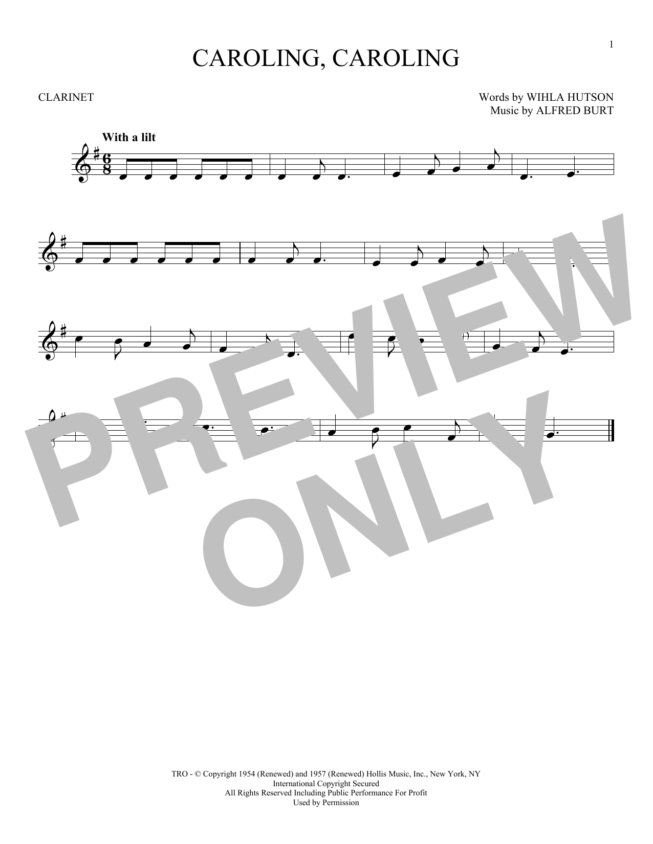Partition clarinette Caroling, Caroling de Alfred Burt - Clarinette