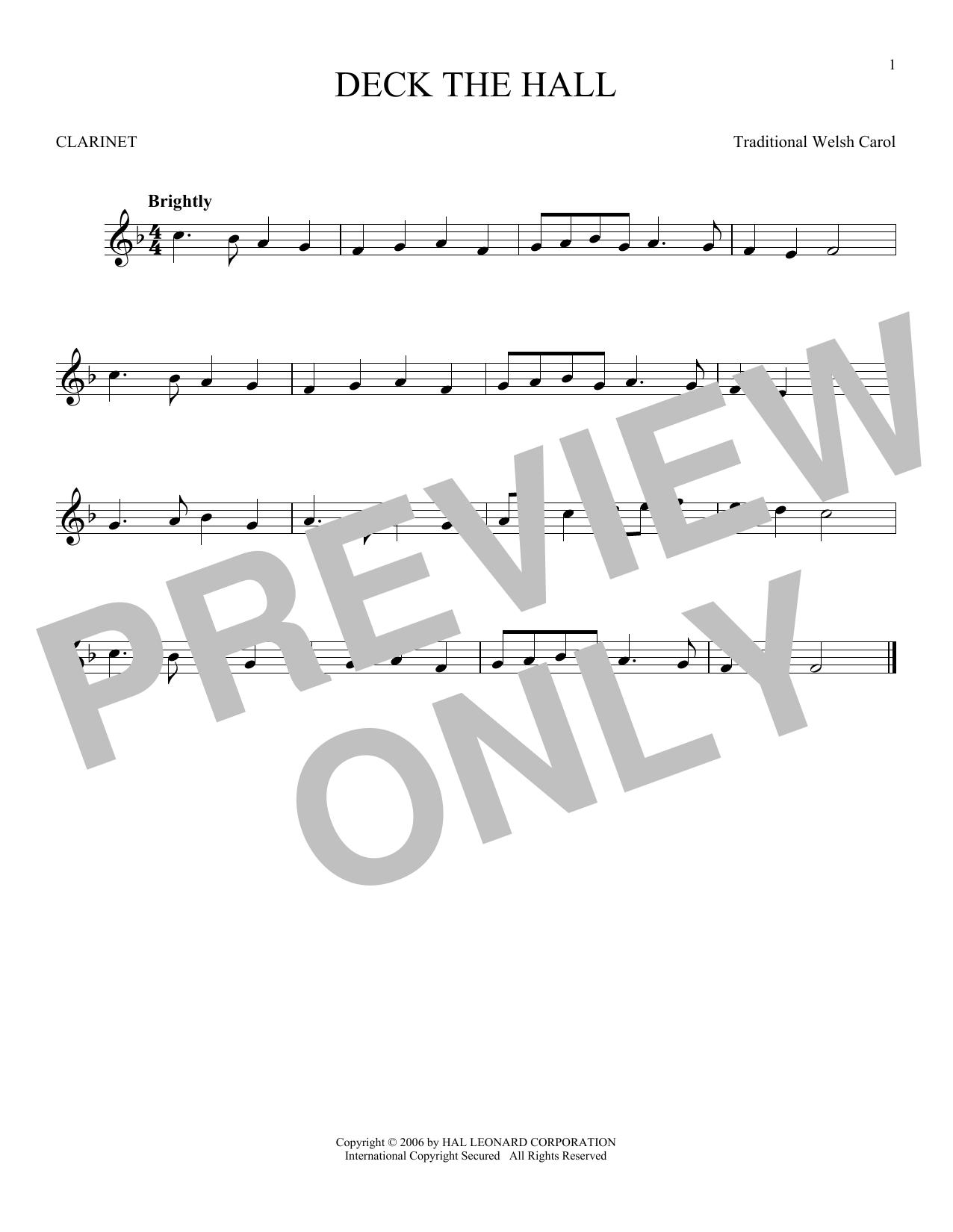 Partition clarinette Deck The Hall de Christmas Carol - Clarinette