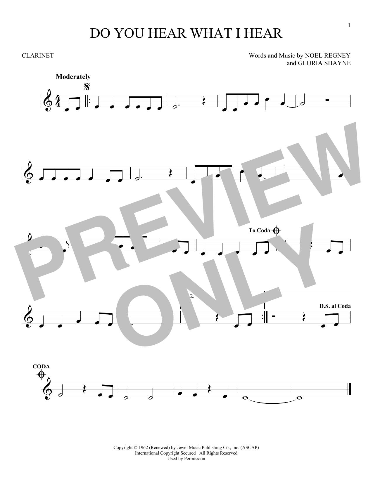 Partition clarinette Do You Hear What I Hear de Noel Regney & Gloria Shayne - Clarinette